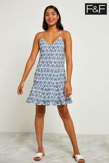 F&F Blue Strappy Ikat Dress