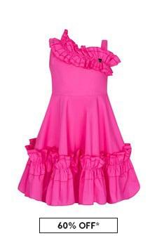Monnalisa Girls Pink Cotton Dress