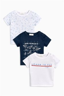 Paper Plane Graphic T-Shirts Three Pack (0mths-2yrs)