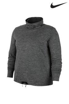 Nike Curve Grey Fleece Funnel Neck Crew Sweater