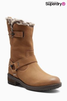 Superdry Tan Mid Tempter Biker Boot