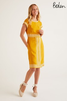 Boden Yellow Laura Linen Embroidered Dress