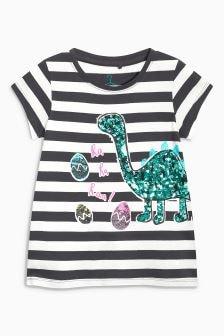 Striped Dinosaur Easter T-Shirt (3-16yrs)