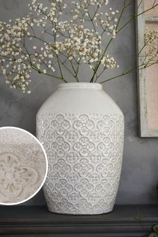 Large Tile Embossed Vase