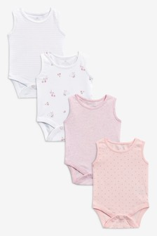 4 Pack Vest Bodysuits (0mths-3yrs)