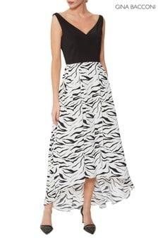 Gina Bacconi Black Narine Zebra Dress