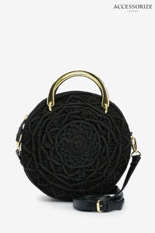Accessorize Black Jenna Macrame Circle Cross Body Bag