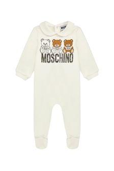 Moschino Kids Ivory Cotton Fleece Babygrow