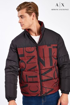 Armani Exchange Burgundy Logo Print Jacket