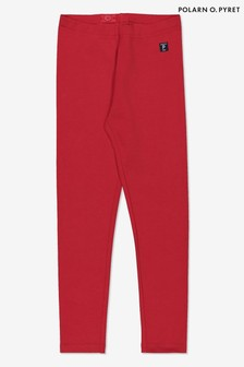 Polarn O. Pyret Red Gots Organic Leggings