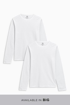 Long Sleeve T-Shirts Pure Cotton Two Pack