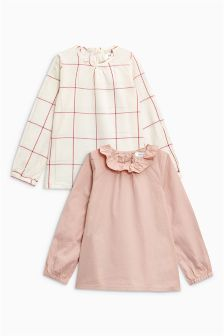 网格纹和纯色女式上衣两件装 (3个月-6岁)