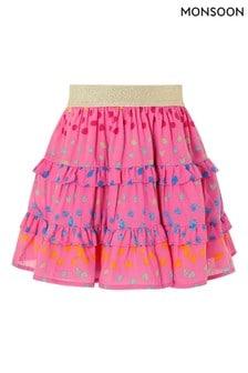 Monsoon Pink Rainbow Spot Frill Skirt