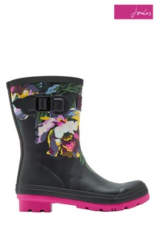 Joules Black Molly Mid Height Printed Welly