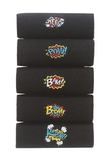 Comic Embroidered Socks Five Pack