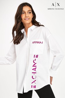 Armani Exchange White Logo Oversized Shirt