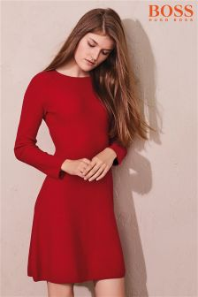 BOSS Knit Long Sleeve Red Dress