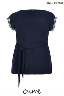 River Island Navy Curve Tallie Tape Top