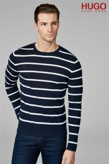 HUGO Navy Simun Breton Stripe Knitted Jumper