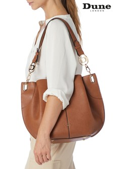 Dune London Tan Derly Large Pleated Slouch Bag
