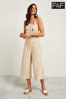 F&F Beige Stripe Double Breasted Jumpsuit