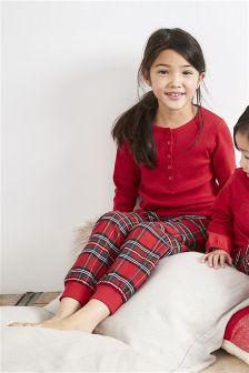 Geweven geruite meisjespyjamabroek (3-16 jr)