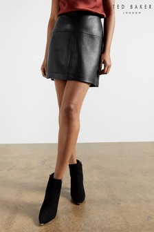 Ted Baker Valiat A-Line Leather Mini Skirt