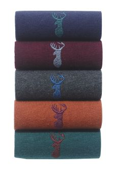 Colour Stag Embroidered Socks Five Pack