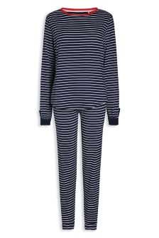 Long Sleeve Cotton Stripe Jersey Pyjamas