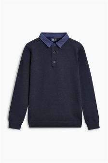 Long Sleeve Knitted Poloshirt (3-16yrs)