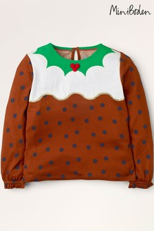 Boden Brown Christmas Pudding Jersey Top
