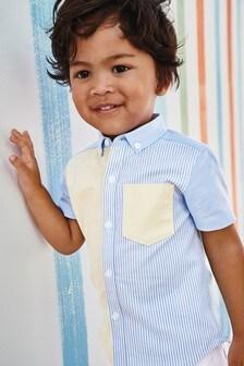 Short Sleeve Stripe Colourblock Shirt (3mths-7yrs)