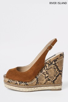 River Island Tan Snake Print Heel Wedge