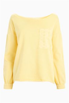 Broderie Pocket Sweatshirt