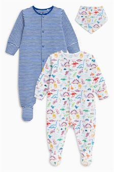 Dino Sleepsuits Two Pack And Bib (0mths-2yrs)
