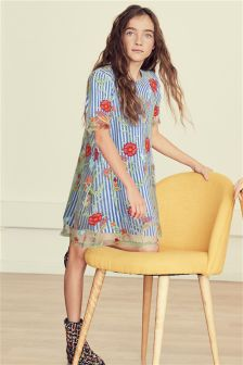 Stripe Embroidered Floral Dress (3-16yrs)