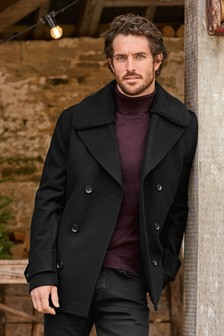 Wool Rich Borg Collar Peacoat