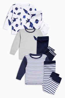 恐龙/火箭图案舒适睡衣三件装 (9个月-8岁)