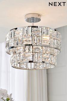 Chrome Alexis 3 Light Flush Ceiling Light