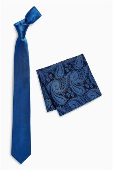 Silk Tie With Paisley Pocket Square