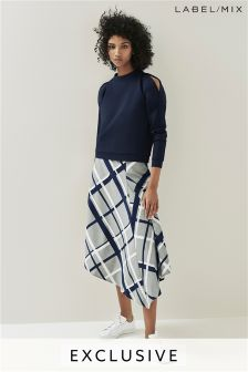 Mix/Teatum Jones Asymmetric Midi Skirt