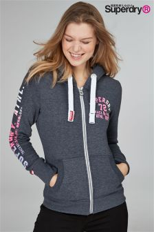 Superdry Charcoal Marl Track And Field Zip Hoody
