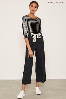Mint Velvet Navy Contrast Tie Crop Trouser