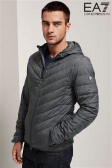 Emporio Armani EA7 Anthracite Grey Shield Down Hooded Jacket