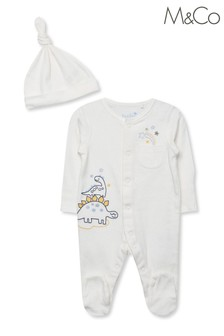 M&Co Dino Sleepsuit And Hat