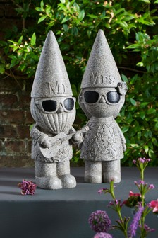 Set of 2 Mr And Mrs Garden Gnomes