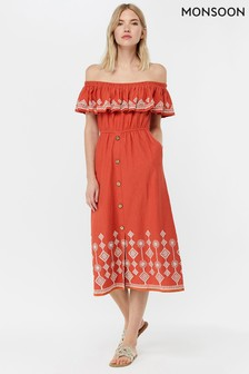 Monsoon Ladies Orange Cheryl Jersey Embroidered Off Shoulder Dress