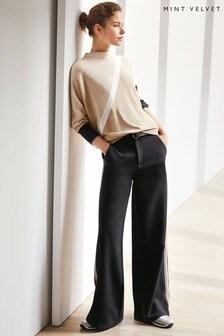 Mint Velvet Black Side Stripe Wide Leg Trouser