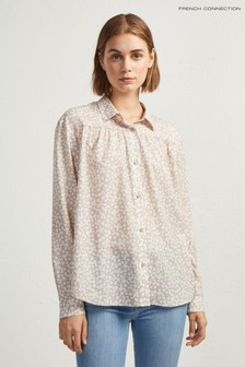 French Connection Cream Floral Print Shirt