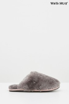White Stuff Grey Shearling Slipper Mules